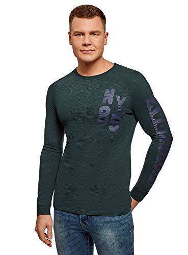 Oodji ultra uomo maglia a maniche lunghe in cotone con stampa, verde, it 56-58 / eu 58-60 / xxl