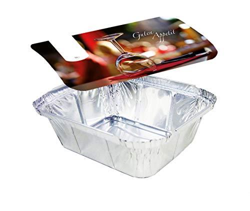 Rehoca Aluschalen eckig mit Motiv Deckel Gourmet • 450 ml • 141 x 116 x 41 mm • Aluminium Schale • Alubehälter mit bedrucktem Kartondeckel • alukaschiert (500 Stück)