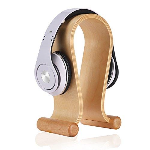 SAMDI Supporto per Cuffie in Legno, Universale Headset Stand Cuffie Supporto Legno per Sony, Bose, Shure, Jabra, JBL, AKG, Cuffia per Gaming e Cuffie Display (Betulla Bianca)