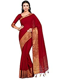 MIMOSA Women's Kanchipuram Linen Saree With Unstitched Blouse Piece (13_Maroon)