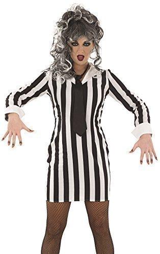 Damen Sexy Schwarz Weiß Beetlejuice Halloween Film Kostüm Kleid Outfit 8-22 Übergröße - Schwarz/weiß, 16-18