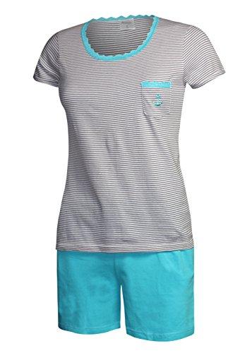 Damen Schlafanzug kurz Pyjama Damen kurz Sleepshirt Damen Shorty aus 100% Baumwolle Gr. S M L XL (M/40-42, oberteil grau / short türkis)