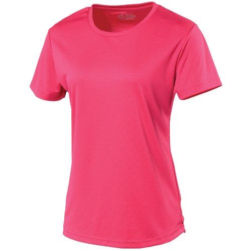 Just Cool Damen Sport T-Shirt unifarben (2XLarge) (Dunkles Pink) XXL,Dunkles Pink