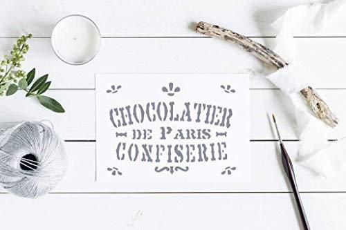 Schablone Chocolatier de Paris - französischer shabby chic Stil - Alte Welt-stil Möbel
