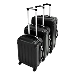 Todeco - Set of Suitcases, Travel Luggages - Material: ABS plastic - Wheel type: 4 wheels 360° rotation - Protected corners, 20 24 28 inch, Black, ABS