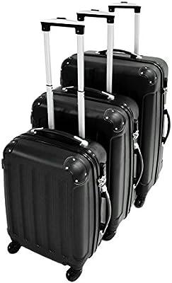 Set de 3 maletas, ABS Maletas dura Juego de Trolley Viaje Maleta con 4 sólidas ruedas - negro