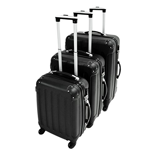 Set da 3 valigie Trolley nere - Valigie a rotelle rigide con sicurezza - 20''/24''/28''