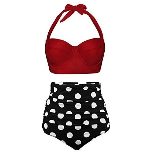 VJJ AIDEAR Women Retro Vintage Underwire High Waisted Bathing Suits Bikini Set - Womens Side Ruched Top
