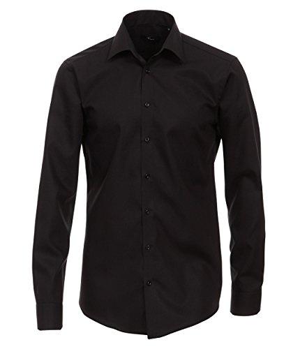 extra slim fit hemden Venti Herren Hemd (extra Langer Arm 72cm) Slim Fit/Bügelfrei / 100% Baumwolle schwarz 43