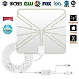 Digitale HDTV-Antenne für TV-Innenanwendungen,Firmrock 60-Meilen-HD-Antenne mit abnehmbarem Verstärker-Signalverstärker und 13FT-Koaxialkabel