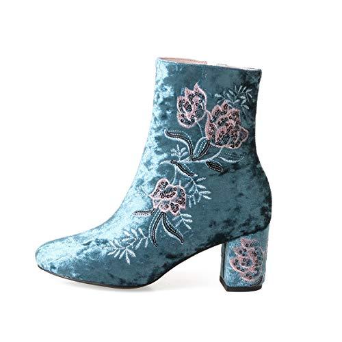 YAN Damen Stiefeletten, Leder High Heel Plateaustiefel, handgemachte Damenschuhe, Reißverschluss Ankle Bootie, Klobige Heels, Herbst Winter Schuhe (Farbe : EIN, Größe : 41) - Handgemachte Booties