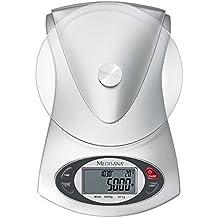 Medisana Báscula de Cocina Digital con Temporizador, Temperatura y Hora, Color Gris, Cristal