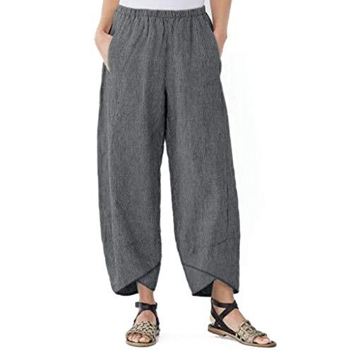 mounter- Damen-Hose, Weite Beine, hohe Elastikbund, knöchellang, Baumwolle, Leinen, lose Freizeithose Gr. Medium, grau -