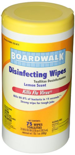disinfecting Wipes, 8 x 7, Lemon Scent, 75 per canister, 6 per carton