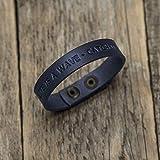 Brazalete personalizada de cuero italiano azul, grabe su nombre, lema personal, frase inspiradora, coordenadas GPS, fecha, manilla, pulsera
