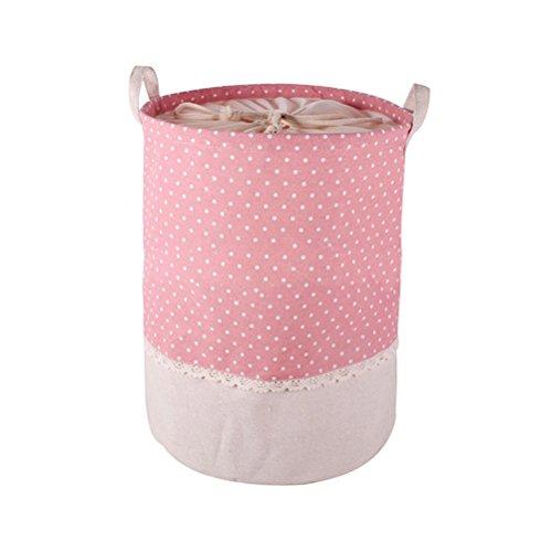 Fieans faltbaren Wäschekorb runden Wäschekorb Kinder Spielzeug Veranstalter Spielzeug aufbewahrung Spielzeug Warenkorb Kleidung Halter mit Deckel-Rosa