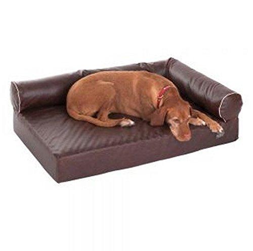 hundeinfo24.de Divan Wellness Hundematratze aus Memory-Schaum, mit abnehmbarem Bezug, robust, aus Kunstleder, Braun Hygienisch; ideal für ältere Hunde und Hunde mit Gelenkproblemen