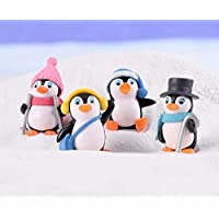 L_shop Winter Penguin Miniature Figurine Mini Christmas Figures Home Decoration Kawaii DIY Fairy Garden Ornaments Resin Craft Kids Toys