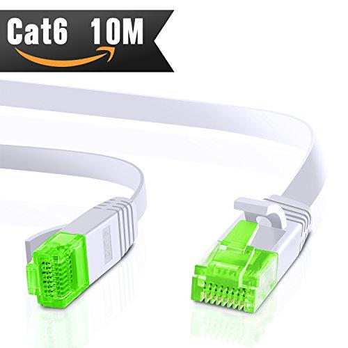 10m CAT.6 Ethernet Gigabit Lan Netzwerkkabel (RJ45) 1Gbps 250Mhz,Switch, Router, Modem, Patchpannel, Access Point, Patchfelder, weiß von CableMonsta