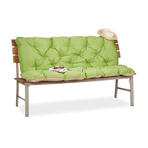 Relaxdays Gartenbank Auflage, Bankauflage mit Rückenlehne, Sitzauflage und Rückenpolster Rückenteil für Bank, Grün, 54,3x46x25,5 cm