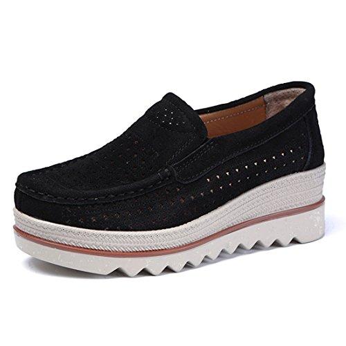 Z.SUO Mujer Mocasines Cuero Gamuza Moda Loafers Casual
