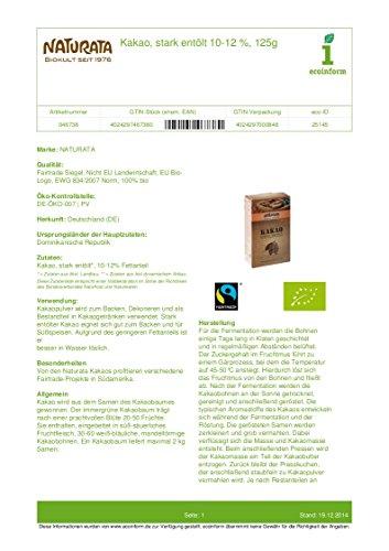 Naturata Kakaopulver, stark entölt (125 g) - Bio