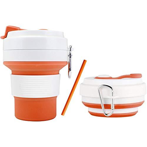 Inchant Zusammenklappbar Kaffee-Reise-Becher, Lebensmittelklassensilikon Kaffee Camping Cup...
