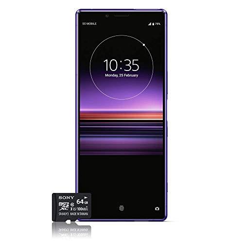 Sony Xperia 1 Smartphone, 4K HDR OLED Display da 6,5 pollici, Dual-SIM, 128GB di memoria, 6 GB RAM, Android 9.0 + Micro SD da 64 GB, Viola, esclusivo Amazon [Versione Italiana]