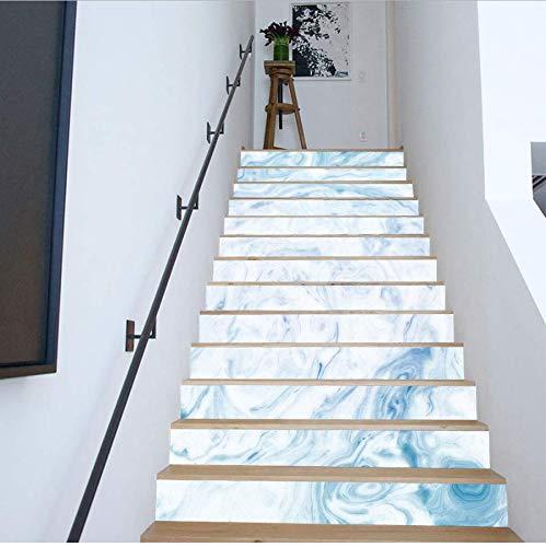 Schöne Marmor-mosaik-stein (LIZHIOO Treppenaufkleber 3 Stück Leiter Wandaufkleber PVC Vinyl Aufkleber Für Hauptdekoration DIY Marmor Tapeten Aufkleber (100cm*18cm) 6pcs)