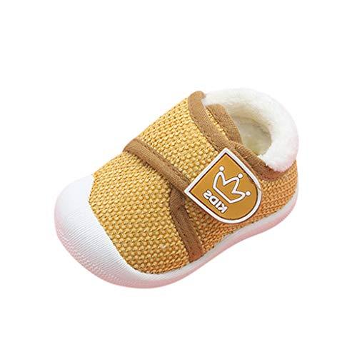 HDUFGJ Baby Kind Junge Mädchen weiche rutschfest Klettverschluss Kleinkind Schuhe Outdoor-Schuhe Worker Boots wasserfeste Flache Stiefel23.5 EU(Gelb)