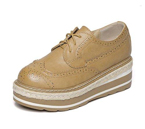 WZG La ronde pente de muffin nouvelle chaussures de printemps marée dentelle bandage avec des chaussures de plate-forme à fond épais sculpté chaussures Bullock Khaki