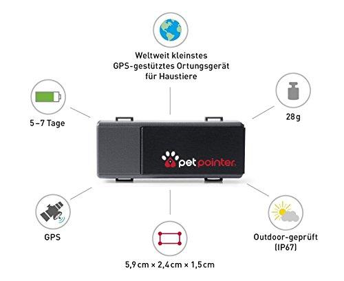 Petpointer - kleinster GPS Tracker für Tiere (Hund, Katze, Pferd, etc.) / ultimativer Schutz für Ihr Haustier / inkl. App für Ihr Smartphone