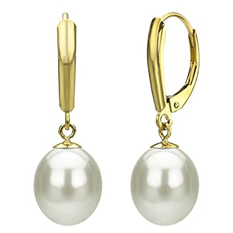 14k Yellow Gold 10-10.5mm White Long Shape Freshwater Cultured High Luster Pearl Lever-back