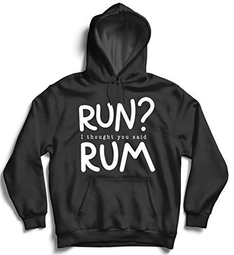 Run No Fitness Motivation Drink Rum Alcohol Work Hard Play Hard Party Crazy Rhum Cuba Hoodie Kapuzen Sweatshirt SM Black Hoodie (Hoodie Hard Work Play Hard)