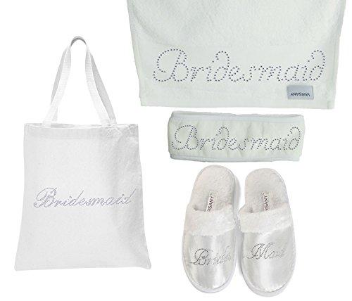 4er-Set von Varsany mit glitzernder Braut-Tasche, Hausschuhe, Handtuch und Haarband für Flitterwochen und Junggesellinnenabschied Bridesmaid