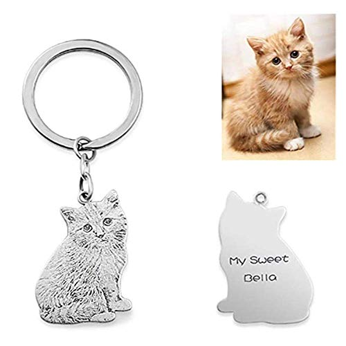 JF Personalisierte Haustier Foto Keychain Benutzerdefinierte Gravierte Dog Tag Name Keychain für Frauen Männer Beste Memorial Geschenk