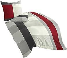 Bierbaum 4643_14 Dessin Parure de lit en satin de coton mako Gris 135 x 200 cm + 80 x 80 cm