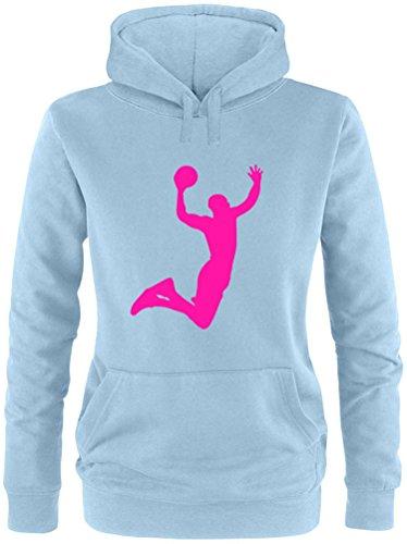 EZYshirt® Basketball | Slam Dunk Damen Hoodie Hellblau/Pink