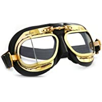 MK49 Antique Leather Motorcycle Goggle for Open Face Helmets - Black