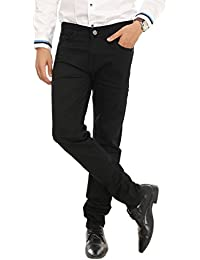 Nimegh Black Colored Cotton Club Wear Casual Slim Fit Solid Jeans For Men's