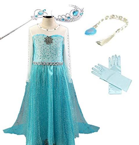 YOGLY Mädchen Prinzessin Elsa Kleid Kostüm Eisprinzessin Set aus Diadem, Handschuhe, Zauberstab, Größe 110,  12 Kleid und ()