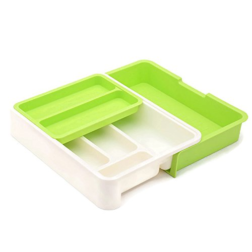 HornTide 3-in-1 Drawer Tray Expandable Utensil Storage Organizer Plastic Tableware Holder for Cutlery Receive and More - Green