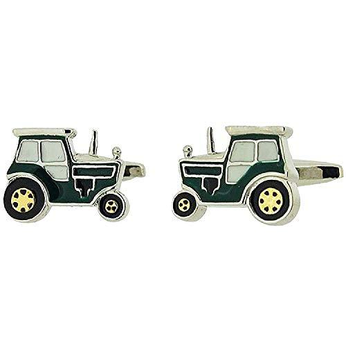 Boutons de Manchette Artamis pour Homme en Forme de Tracteurs de Ferme avec Émail Vert