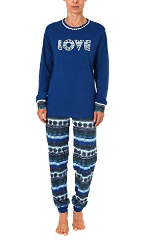 Cooler Damen Pyjama lang mit Bündchen - auch in Übergrössen bis 60/62 - 271 201 90 106, Größe:36/38;Farbe:blau (Cooler Pyjama)