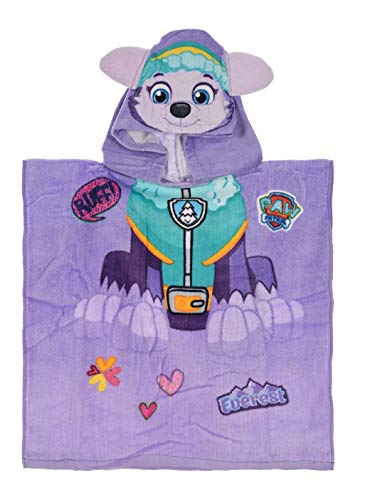 La Pat Patrulla - Poncho de baño con Capucha, diseño de la Patrulla Canina, Color Malva - Albornoz...