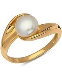 Unique 925 Silberring vergoldet mit weißer Perle SR0157
