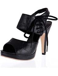 NobS Sandalias Gran TamañO 40 41 42 43 Pez Boca Peep Toe Verano Moda NiñA Tacones Altos Zapatos De Plataforma Impermeable , black , 37
