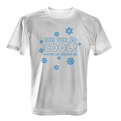 Ich bin so cool! Hinter mir schneit es! - Herren T-Shirt von Fashionalarm | Fun Shirt Spruch Schnee Winter Schneeflocke Motto Statement Party Weiß