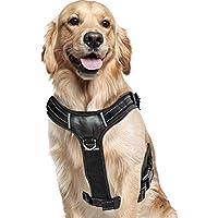 BELISY Gepolstertes Geschirr mit Griff für mittelgroße & große Hunde I Schwarz