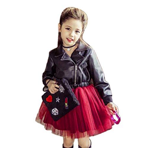 Kinder-Temperament Revers Leder Mesh Spleißen Rock @JYJM Kleinkind-Baby-Mädchen-Kind-Spitze-feste Prinzessin Dress Party Dress Outfits Clothes (Größe: 24 Monate, Schwarz)